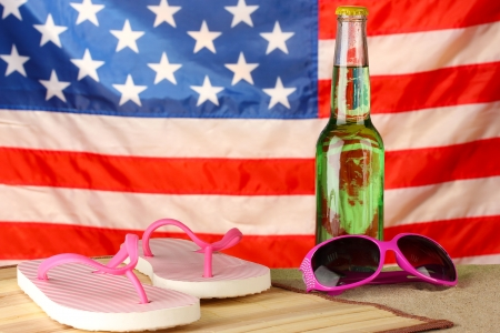 beach mat: concept of Labor Day in America, close-up Stock Photo
