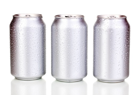 aluminum cans with water drops isolated on white Stock Photo - 15840467