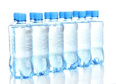 water sport: plastic bottles of water isolated on white Stock Photo