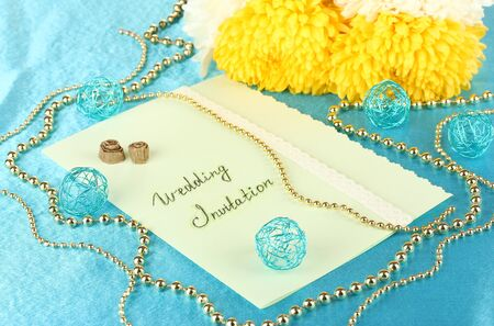 wedding invitations on decorated table close-up Stock Photo