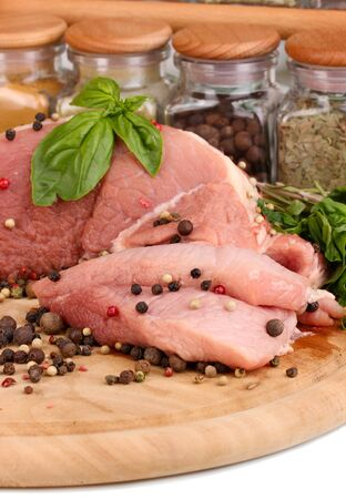 A large piece of pork marinated with herbs and spices close-up Stock Photo - 15853818