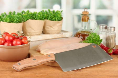 composition of raw meat, vegetables and spices on wooden table close-up Stock Photo - 15853817