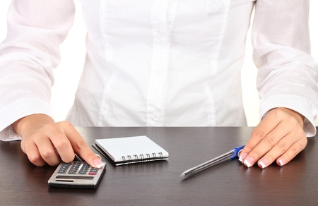 Woman's hands counts on the calculator, close-up Stock Photo - 15853432