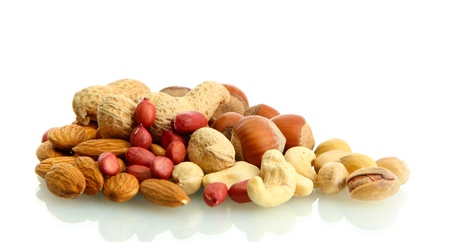 assortment of tasty nuts, isolated on white photo