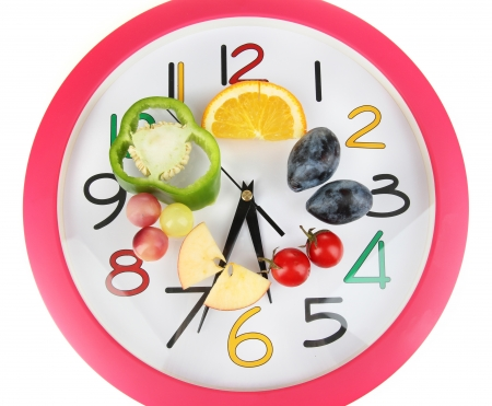 microelements: Dietary food on time isolated on white