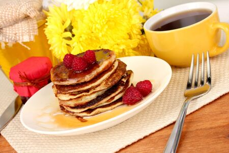 delicious sweet pancakes on bright background Stock Photo - 15853819