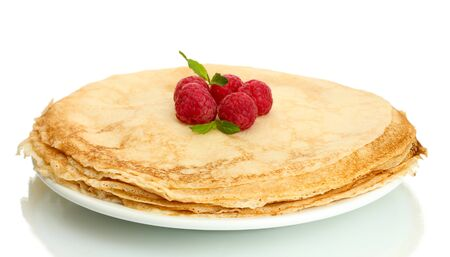 maslen: Delicious pancakes with raspberries on plate isolated on white Stock Photo