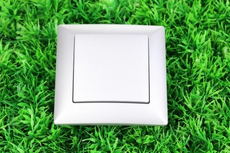 push room: Modern light switch on green grass Stock Photo