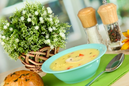 Fragrant soup in blue plate on table on window background close-up Stock Photo - 15938239