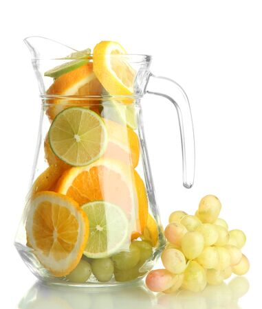 transparent jar with citrus fruits and grape, isolated on white Stock Photo - 15920837