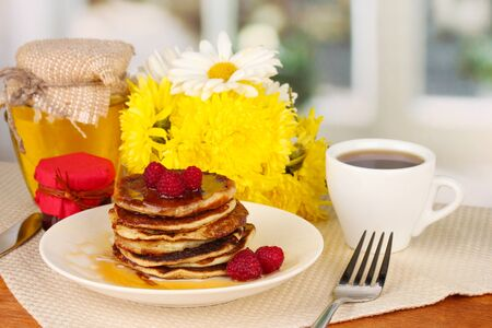 delicious sweet pancakes on bright background Stock Photo - 15938221