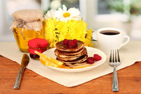 delicious sweet pancakes on bright background Stock Photo - 15938286