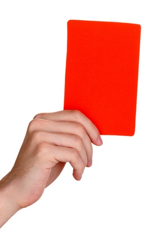 unprinted: hand holding red card isolated on white Stock Photo