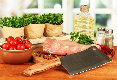 composition of raw meat, vegetables and spices on wooden table close-up Stock Photo - 15923761