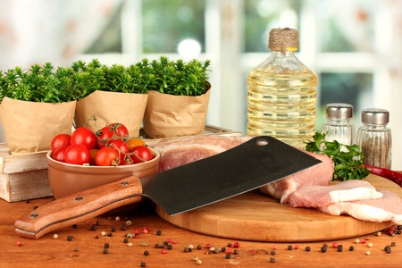 composition of raw meat, vegetables and spices on wooden table close-up Stock Photo - 15923939