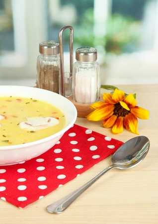 Fragrant soup in white plate on table on window background close-up Stock Photo - 15923809