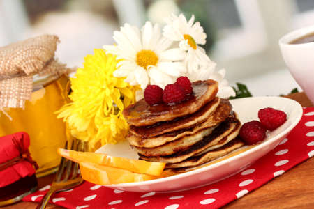 delicious sweet pancakes on bright background Stock Photo - 15923770