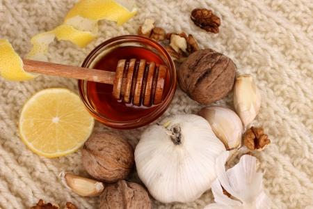 укрепление: Здоровые ингредиенты для укрепления иммунитета на теплый шарф крупным планом