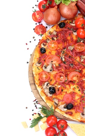 pizza pie: delicious pizza, vegetables and salami isolated on white