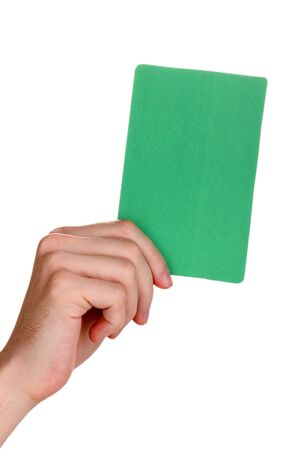unprinted: hand holding green card isolated on white Stock Photo
