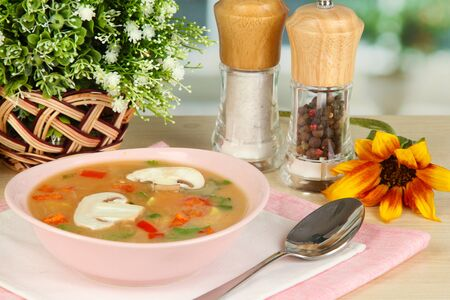 Fragrant soup in pink plate on table on window background close-up Stock Photo - 15959040