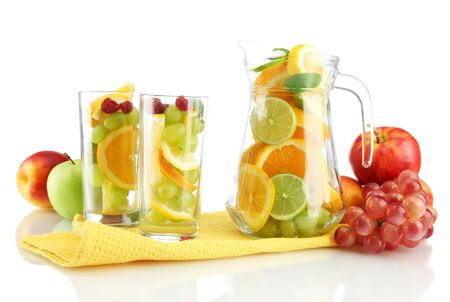transparent jar and glasses with citrus fruits, isolated on white Stock Photo - 15958653
