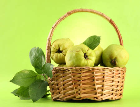sweet quinces with leaves in basket, on green background Stock Photo - 15958979