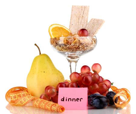 microelements: Dietary foods for dinner isolated on white
