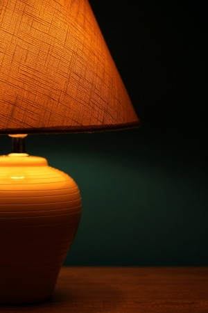 table lamp on wallpaper background  Stock Photo - 15959947