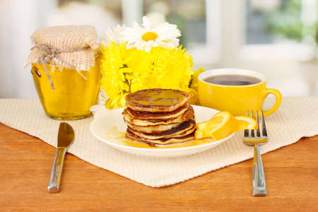 delicious sweet pancakes on bright background Stock Photo - 15959701