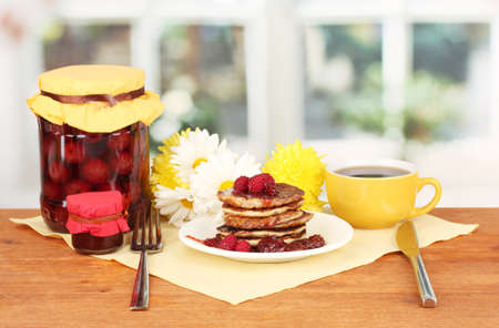 delicious sweet pancakes on bright background Stock Photo - 15958978