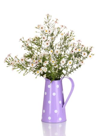 beautiful bouquet of white flowers in watering can isolated on white photo