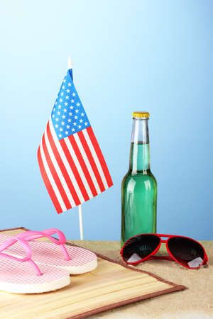 concept of Labor Day in America, on blue background close-up photo