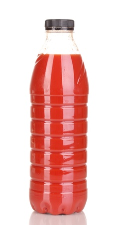 Tomato juice in bottle isolated on white Stock Photo - 15994501