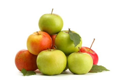 sweet apples with leaves, isolated on white