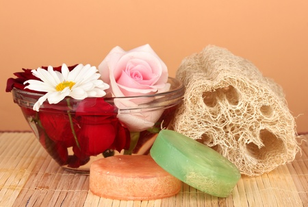 Loofah on color background photo