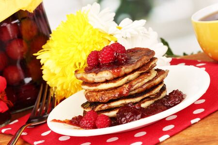 delicious sweet pancakes on bright background Stock Photo - 15994847