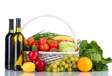 Composition with vegetables and fruits in wicker basket isolated on white Stock Photo - 15994671
