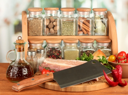 composition of raw meat, vegetables and spices on wooden table close-up Stock Photo - 16079193