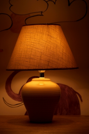 table lamp on bright background  photo