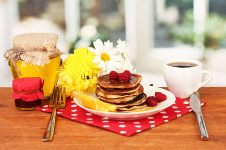 delicious sweet pancakes on bright background Stock Photo - 16079191