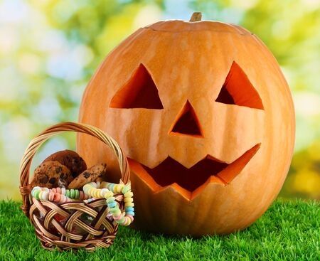 Halloween pumpkin on grass on bright background photo