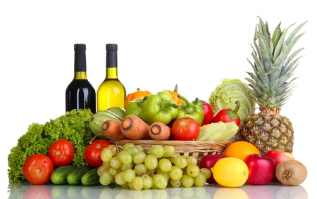 Composition with vegetables and fruits in wicker basket isolated on white Stock Photo - 16078280