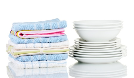dishtowel: Kitchen towels with dishes isolated on white background