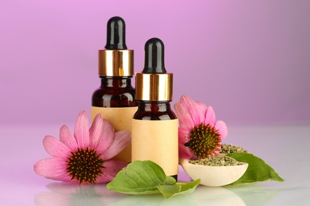 bottles with essence oil and purple echinacea, on pink background photo