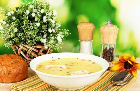 sopa de pollo: Fragante sopa en el plato blanco sobre mesa sobre fondo natural primer plano