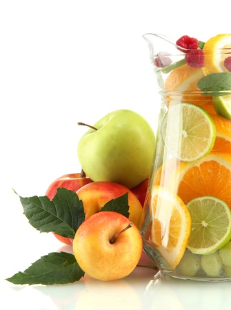 transparent jar with exotic  fruits, isolated on white Stock Photo - 16106004