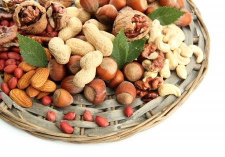 assortment of tasty nuts, isolated on white Stock Photo - 16106490