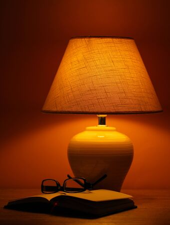 table lamp on brown background photo