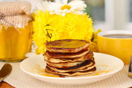 delicious sweet pancakes on bright background Stock Photo - 16106385